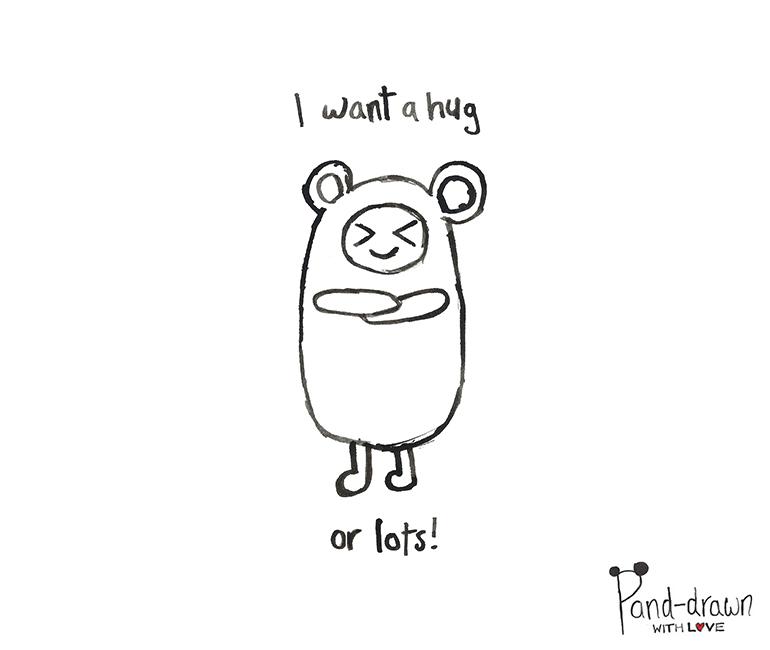 I Want a Hug or Lots at Pand-drawn.co.uk
